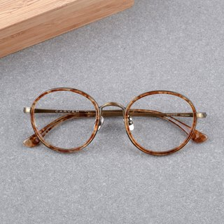Korean Retro Round Titanium Titanium Nose pads Summer Limited glasses Frame Yellow glazed