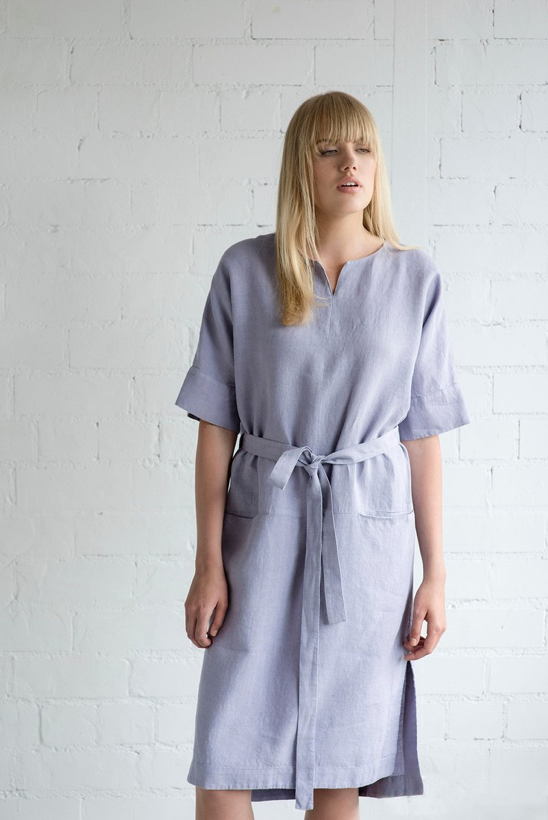 Linen Dress Motumo – 17S14 / Handmade loose linen summer dress