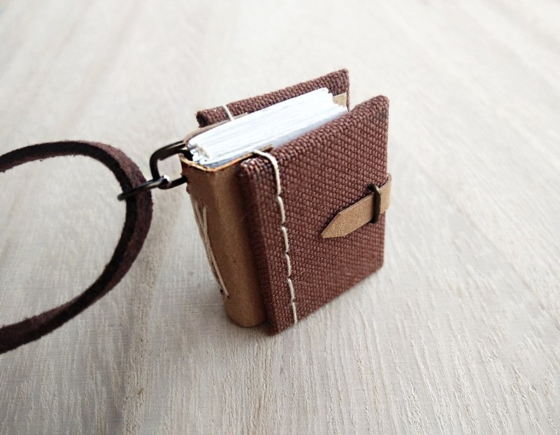 Mini Book Necklace (brown), with adjustable faux suede cord