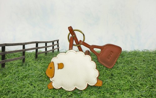 Ox leather sheepskin key ring - sheep