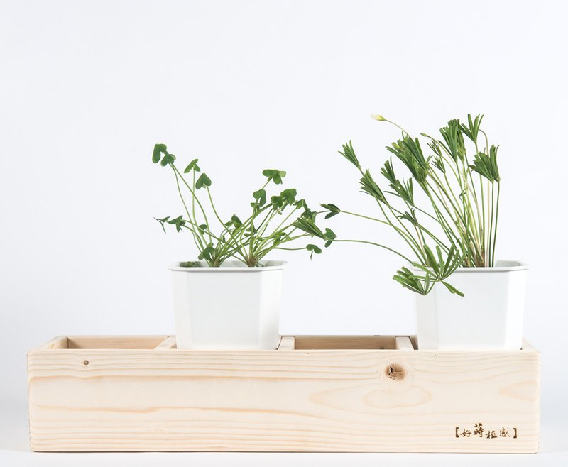 Wooden square flower pot coat [four flower sharing version] - plant sense series - give plants a warm home