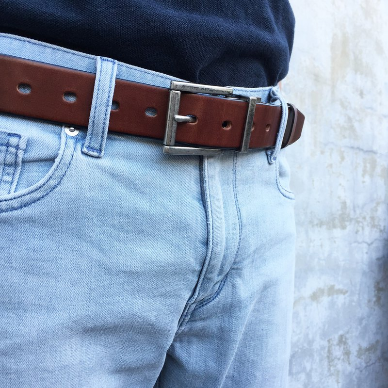Double-sided dual-use belt rotating head structure Italy vegetable tanned leather belt belt gift