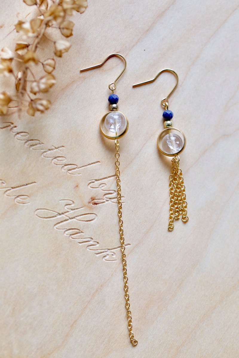 || Blue White Star || Natural Kyanite / Himalayan Ice Cracked White Crystal Asymmetric Tassel Brass Earrings