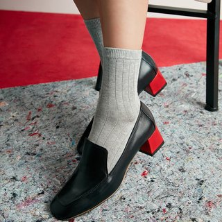 H THREE square head Lok Fu heel / black / thick heel / retro