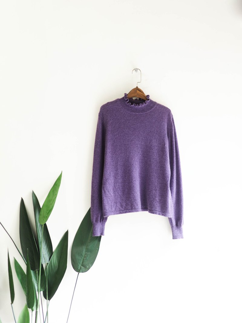 Romantic Violet Half Roll Stand Collar Green 涩 日 Antique Kashmir Cashmere Vintage Sweatercasmere
