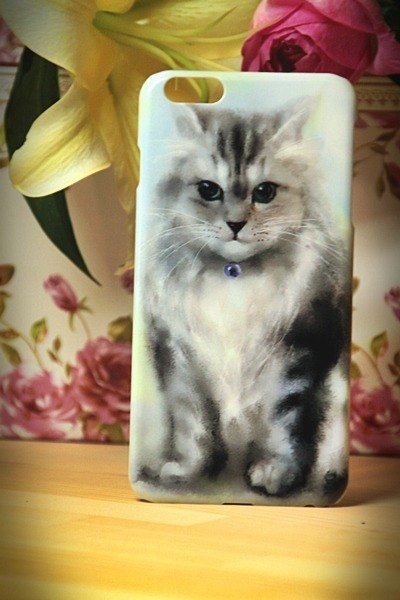 Watercolor painting cat cat s018 gaze David iPhone (i5.i6s, i6splus.I7.I7plus) / Android (Samsung, Samsung, HTC, Sony) designer mobile phone shell / protective cover / kitty cat phone shell