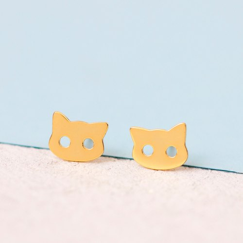 Cat Earrings in 925 Sterling Silver with Yellow Gold plating