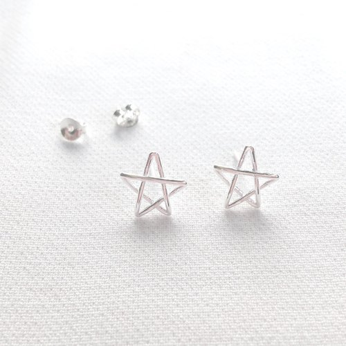 Little Prince Star Silver Earrings with silver cloth and silicone earplugs