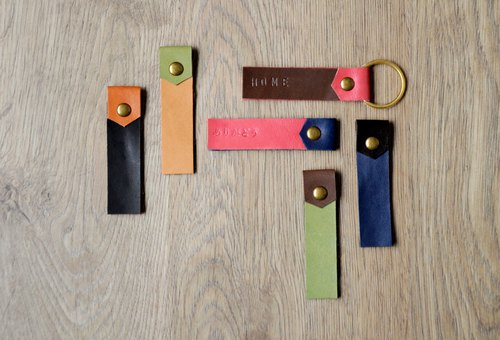 Two-tone leather color matching pure brass leather key ring / bookmark (free customized lettering in English Japanese)