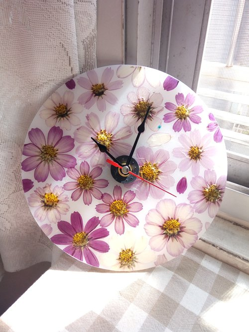 Dry Flowers, Pressed Flowers, Cosmos Flowers Wall Clock