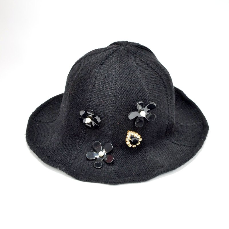 TIMBEE LO black gem beaded flower ladies hat hat edge buckling