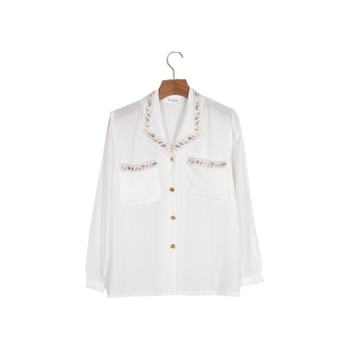 [An old egg plant] color pigment embroidery vintage shirt