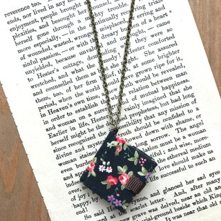Mini Book Necklace| Floral Prints| Red