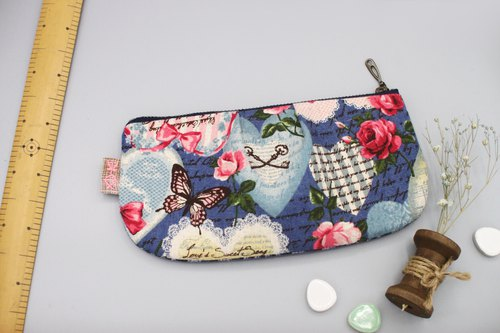 Peaceful universal bag - rose love, cotton super-quality feel, pencil case, cosmetic bag, glasses bag, Valentine's Day