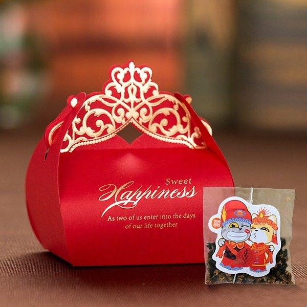 嫣Red Crown Wedding Small Things Cats Tea Customized Manual Wedding Tea Bag Gift Box Cat Modeling Creative Tea Bag (50 Orders)