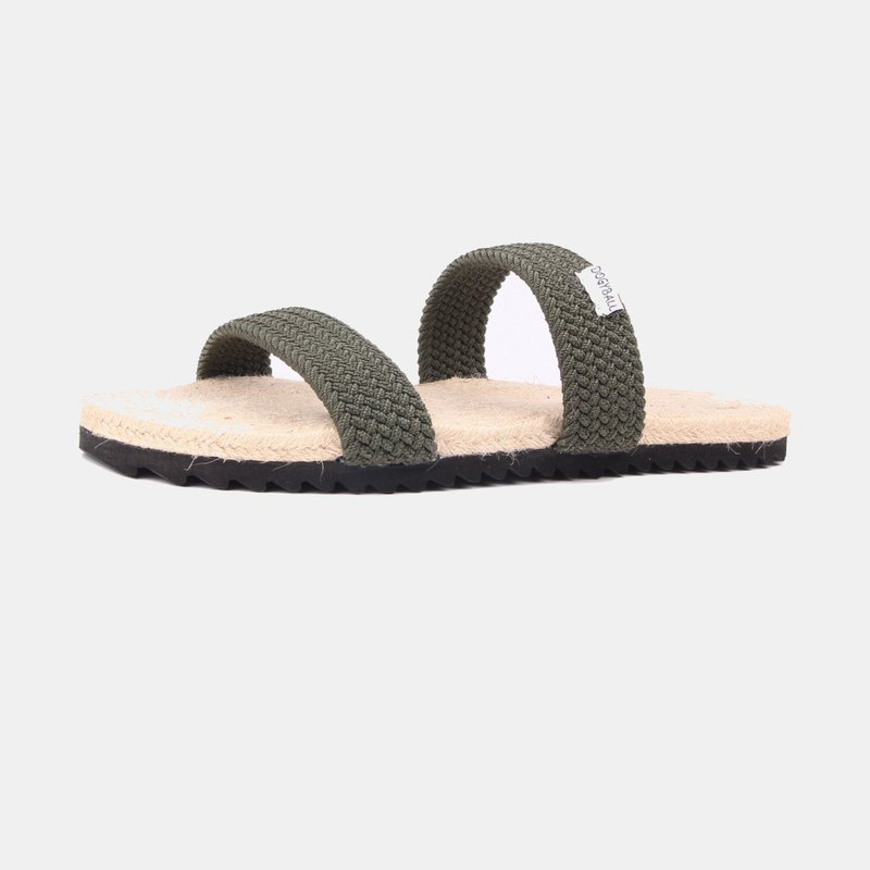 [Dogyball] simple to wear, easy to live, simple stretch double strap straw sandals, olive green