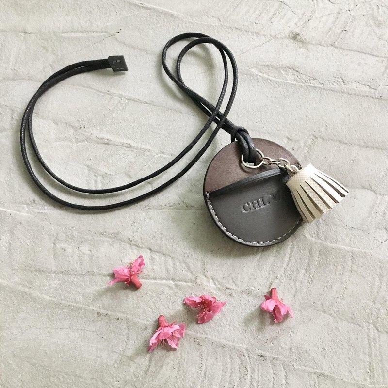 gogoro鑰匙皮套訂製 深咖+灰+白色小流蘇
