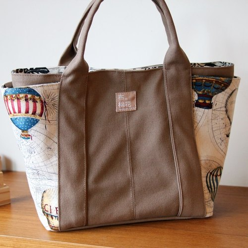 Khaki canvas shoulder bag shoulder bag