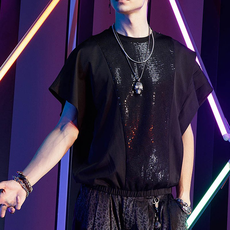Pinli stand up night Shine summer men's Sequin loose short sleeve T-shirt