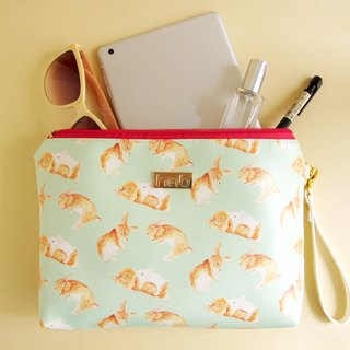 Toffee Rabbit Clutch Big Zip Bag Wash Bag Cosmetic Bag Pouch