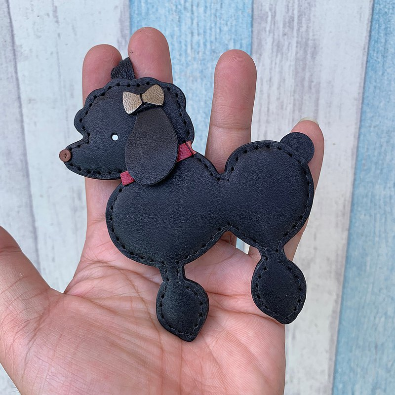 Black cute poodle handmade sewn leather charm big size