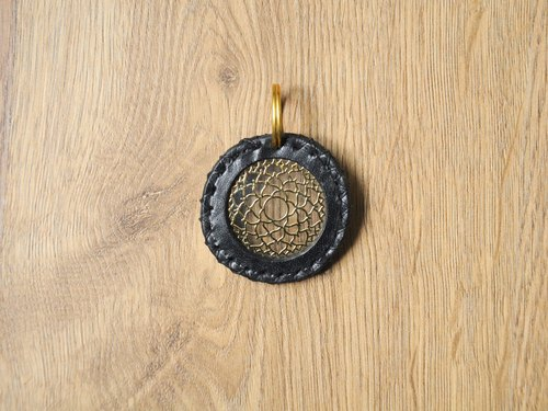 Positive energy chakra x leather brass keychain