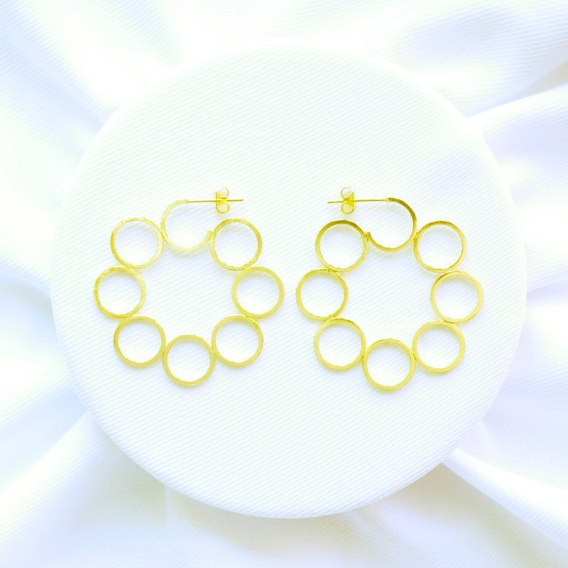 "∥Cheng Jewelry∥ Geometric accessories ""Unlimited I"" 18K Gold-plated copper earrings"