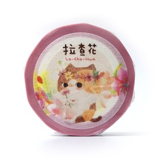 Cat paper tape 15mm - Love & Peace flowers