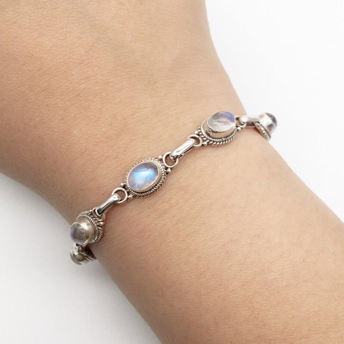 Moonstone Sterling Silver Simple Bracelet Nepal handmade mosaic production
