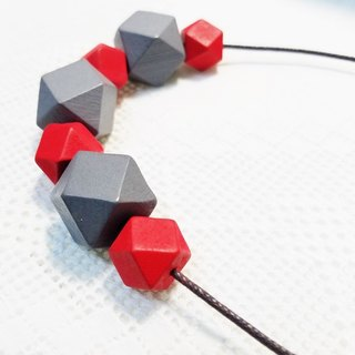 Gray red wooden bead necklace Grey & Red Wood Beads Necklace (N1609)