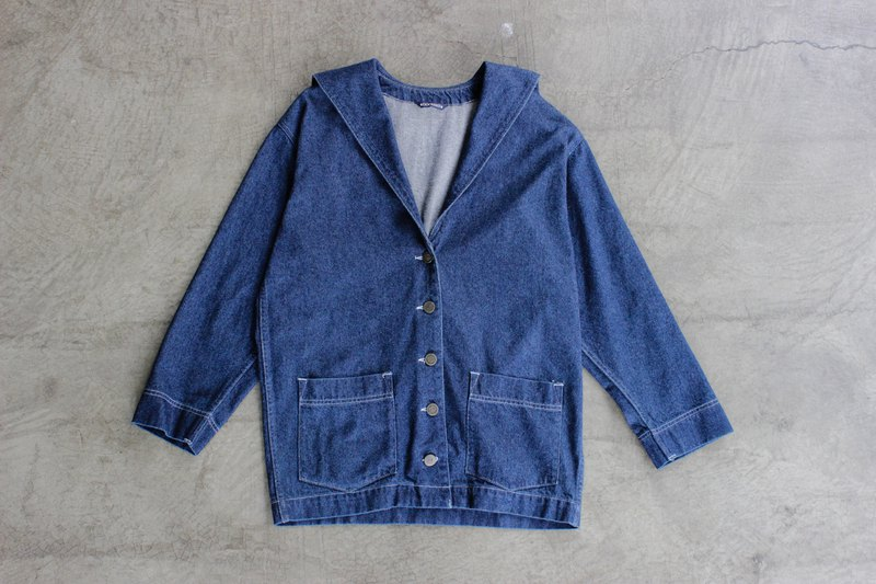 vintage dockers sailor collar shoulder denim jacket