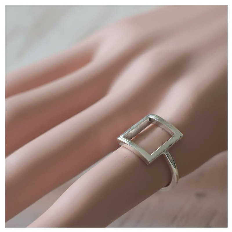card big square Geometry Minimal ring handmade lady women Girl silver sterling