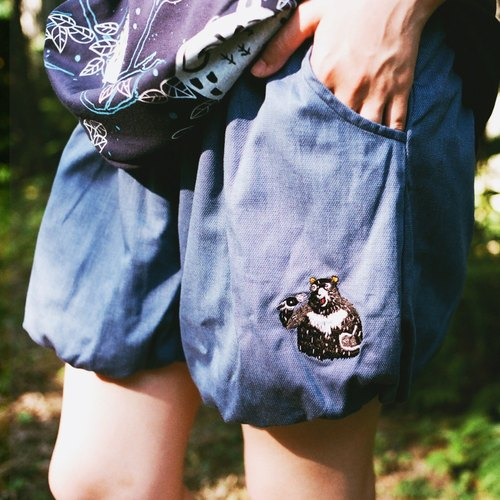Urb Accompanying Bear/Flowers Lantern Shorts / Bicolor x Two-sided Wearable