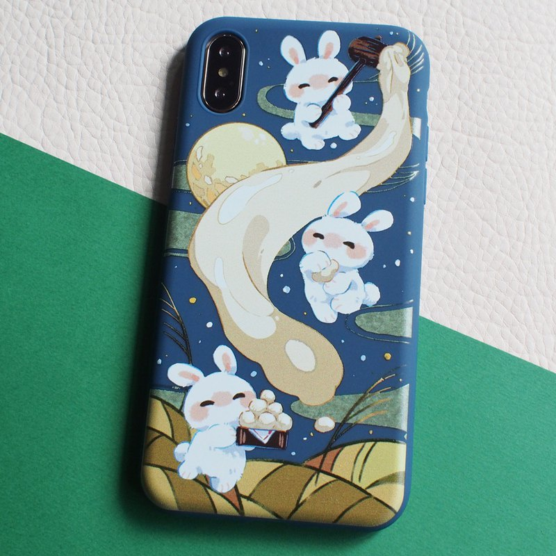 iPhone compatible smartphone case, rabbit, moon, mochi
