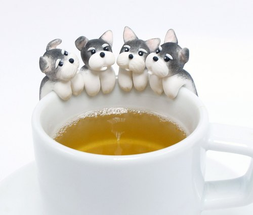 Schnauzer Tea Bag Holder - Clinging Dog Tea bag Holders