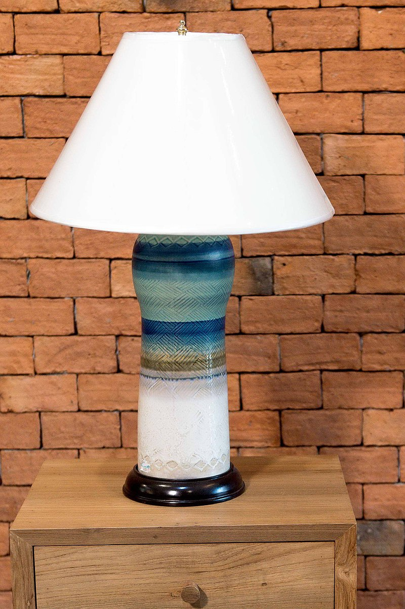 Thai handmade blue table lamp