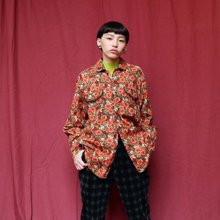 Pumpkin Vintage. Ancient flower corduroy shirt