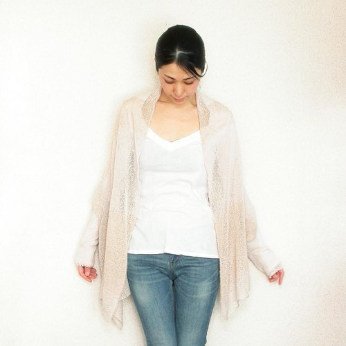 Aquila [Aquila] Partial lame-sleeved stall / beach sand beige