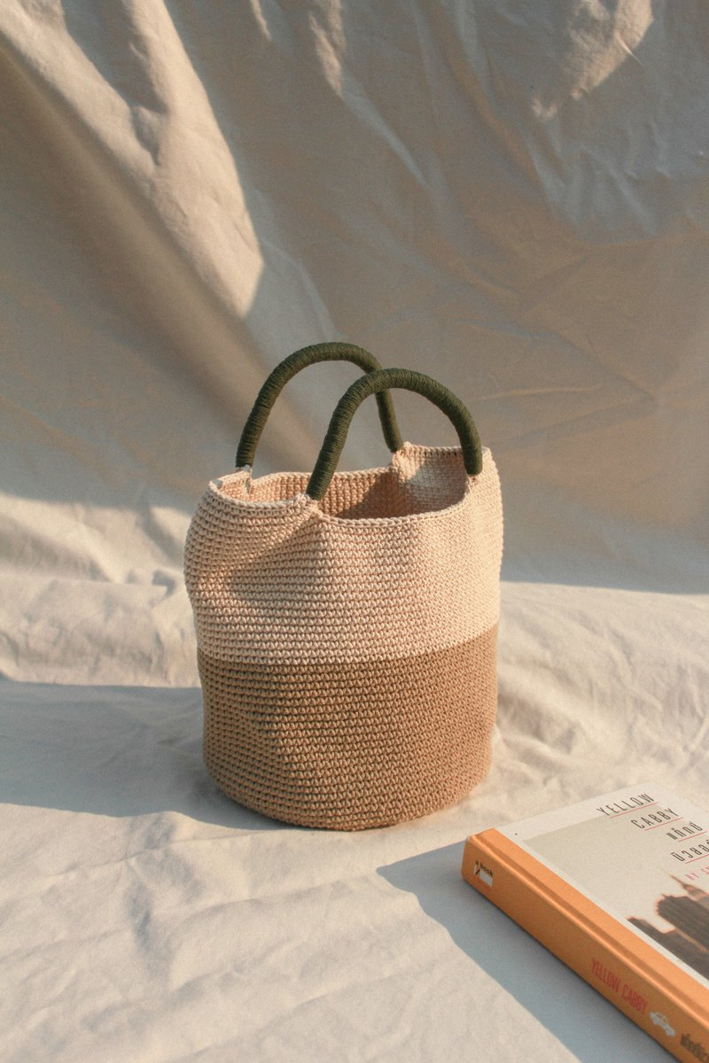 Two Tone (Khaki & Cream) Green Strap ,Bucket hand bags