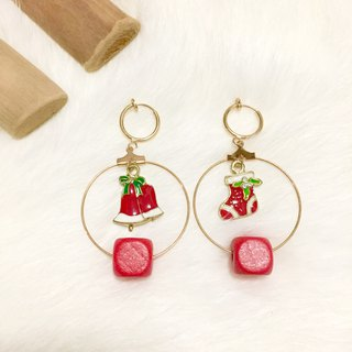 Red Christmas socks socks bells without earrings circle ear clip painless earrings handmade