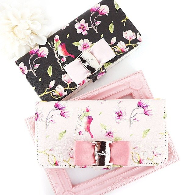 Bird buckle ribbon with bird pattern notebook type smart case Flower pattern