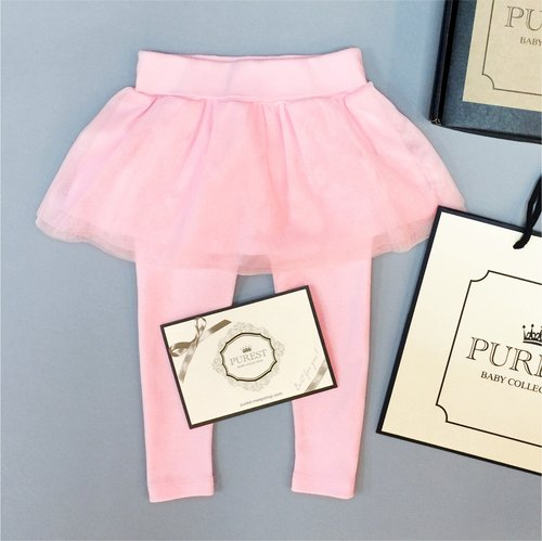 PUREST baby collection [Barbie little princess's treasure box dress] fake two-piece Peng skirt pants | pink | with exclusive gift box and bag