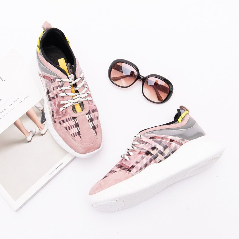 [British casual] elastic shoes, sheep's plaid sneakers _ pink youth