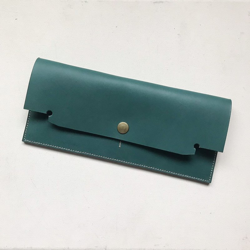 Master style long clip _ ultra-thin minimalist 4 card layer _ double banknote layer (can put change) _ pine green