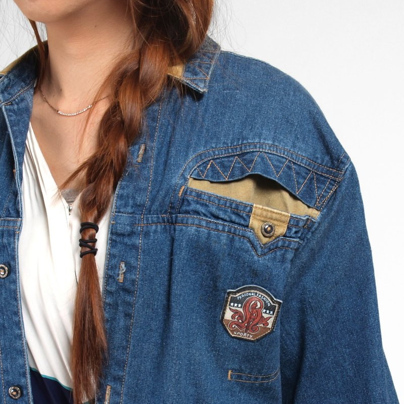 │moderato│vintage personality handsome stitching denim shirt jacket / retro girl Japanese boy. Young artists. Personalized boyfriend