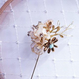 Golden white hand made brooch