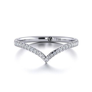 【PurpleMay Jewellery】18k White Gold V-shaped Natural Diamond Ring R002
