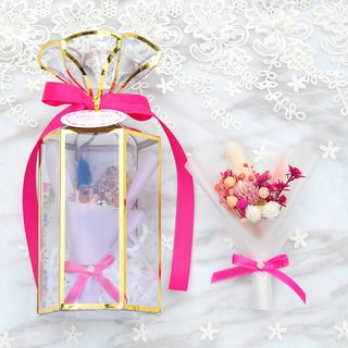 Mini dry bouquet gift box - peach flowers attached card