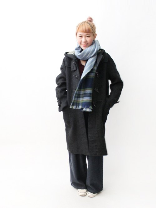 [South Korea] RE1204C373 loose gray iron within the Green Plaid in vintage horn button overcoat
