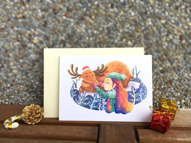 Christmas single-sided card gift with a total of six embracing embrace